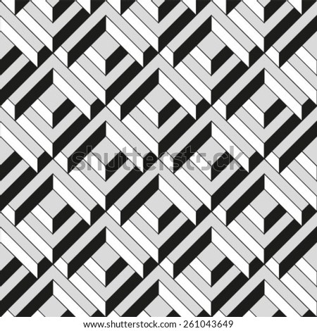 Abstract textured geometric seamless pattern. Vector. - stock vector
