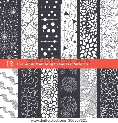 Abstract Textures Black and White Set of 12 Seamless Patterns - stock vector