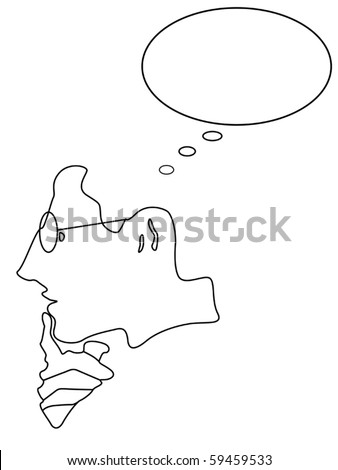 Abstract thinking man vector - stock vector