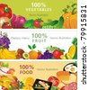 Abstract Three design banners, Vector illustration with vegetable and fruit - stock photo