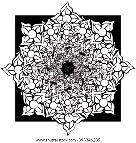Abstract tile with flower design in black and white - stock vector