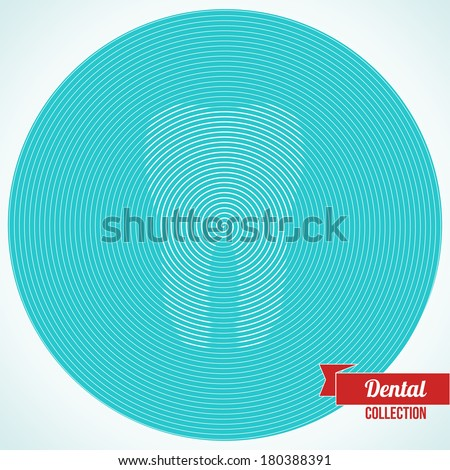 Abstract tooth made up from spiral. Vector illustration. Optical illusion. Background for dentistry and orthodontics design. - stock vector