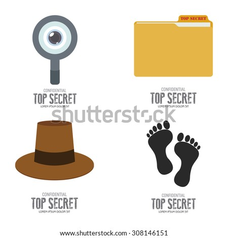 Abstract top secret labels on a white background - stock vector