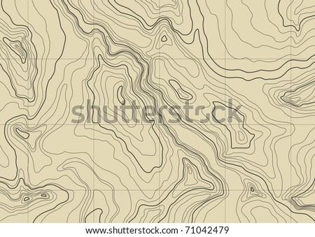 abstract topographic map in brown colors - stock vector