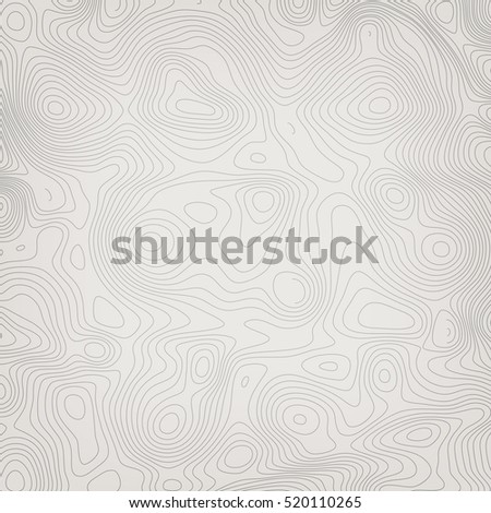 Abstract topographic map. Monochrome linear vector background.