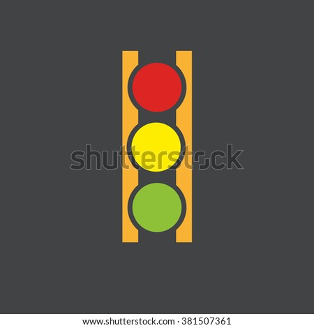 Abstract traffic lights with yellow frame on dark grey background vector illustration