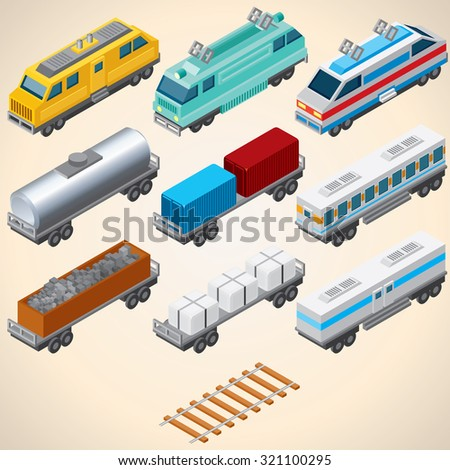 Abstract Trains. Isometric Vector Illustration Include: Locomotive, Oil Tank, Refrigerated Van, Freight Flat Wagon, Boxcar. - stock vector