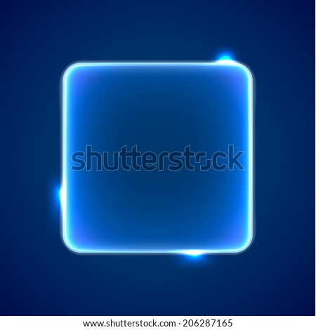 Abstract transparent blue square with lights and sparkles - stock vector
