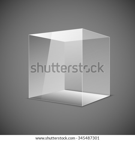 Abstract transparent box on grey background. EPS 10. art - stock vector