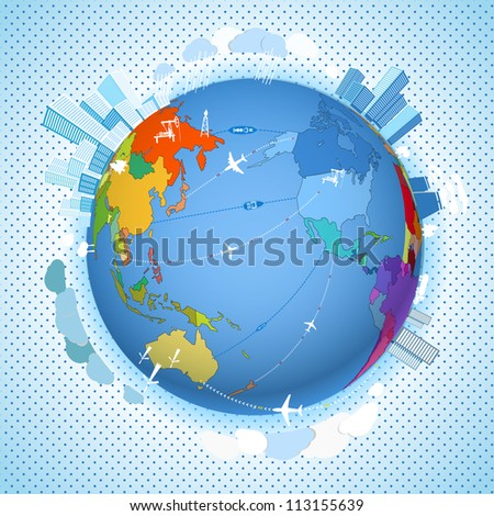 Abstract transport and ecology scheme on the Earth - stock vector