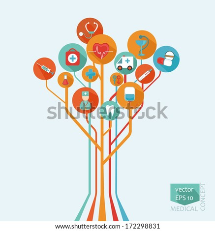 Abstract tree - a medical concept in flat style for your design, vector. - stock vector