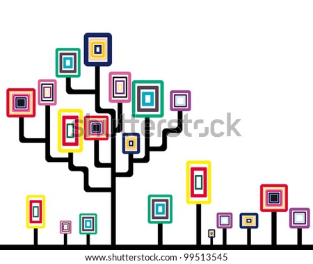 Abstract tree and plants with rounded square leaves. Vector illustration.