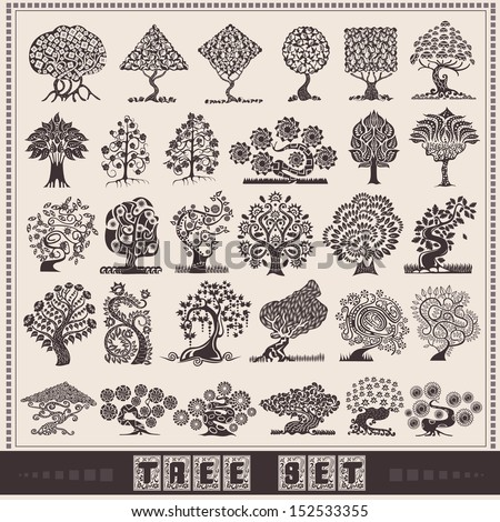 abstract tree big set - stock vector