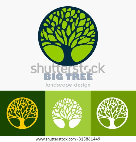 Abstract Tree Business sign vector template. Icon set & corporate identity template for landscape design / architecture, real estate, natural organic product line labeling, recycle, garden. Editable. - stock vector