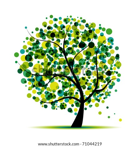 Abstract tree green for your design - stock vector
