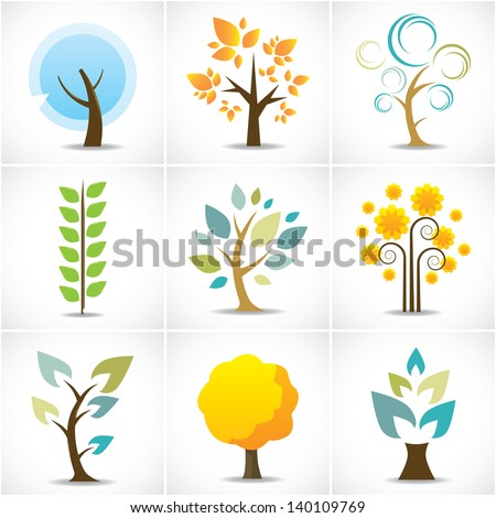 Abstract Tree Icons - stock vector