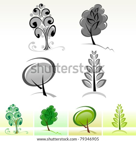 Abstract  Tree Icons and Symbols - stock vector