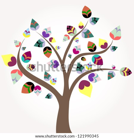 abstract tree, illustration with multicolored leaves