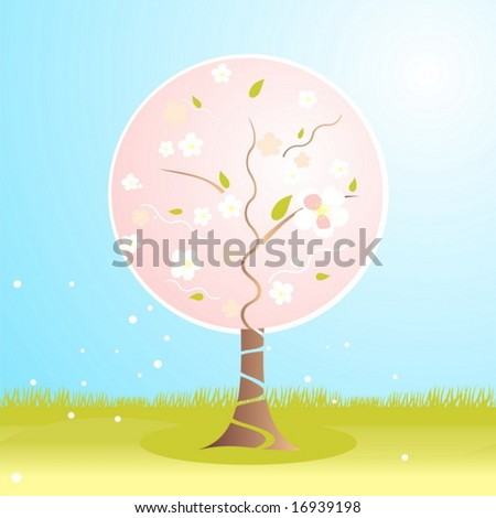 abstract tree in blossom - stock vector