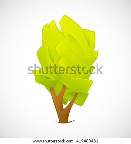 Abstract Tree  isolated on a white background. Tree vector. Green Tree. Tree symbol. Tree geometric shape. Tree shape. Tree green vector symbol. Vector tree illustration - stock vector