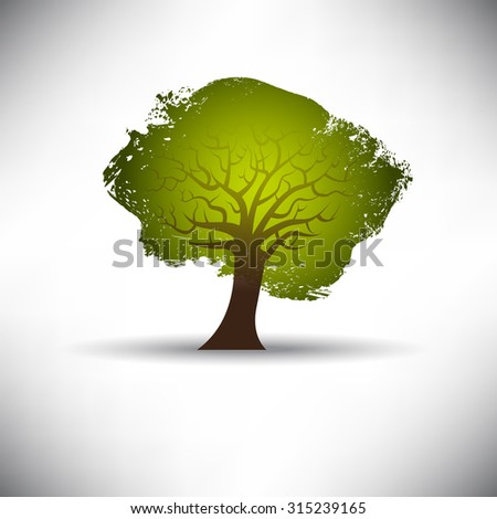 Abstract tree on a gray background with space for text - stock vector