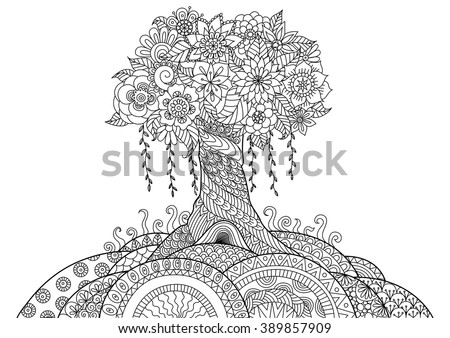 Abstract tree on the hill line art design for coloring book - stock vector