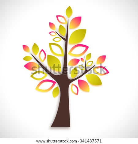 Abstract tree on white background - summer natural motive. Vector illustration. - stock vector