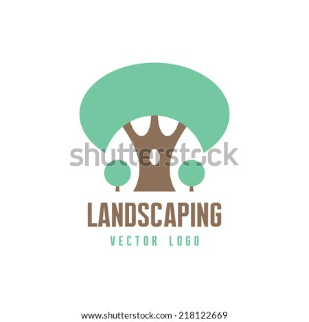 Abstract Tree Sign - Vector logo template. Landscaping, forest and nature concept illustration. Design element.  - stock vector