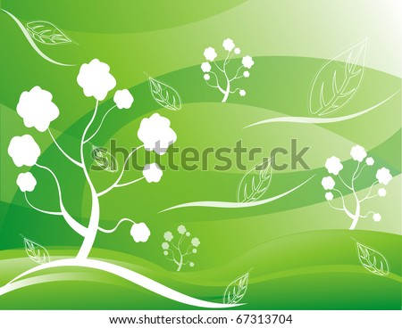 abstract tree vector Illustration green white - stock vector