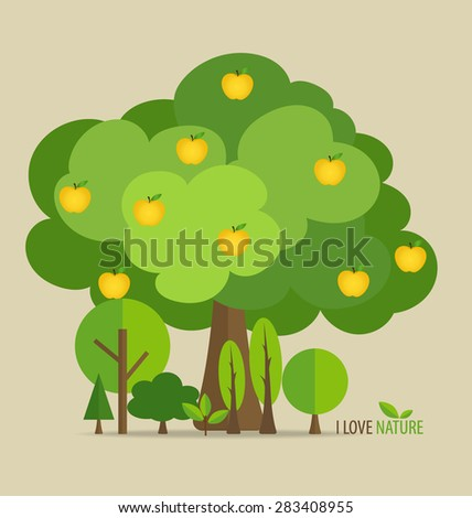 Abstract tree with apples. Vector illustration. - stock vector