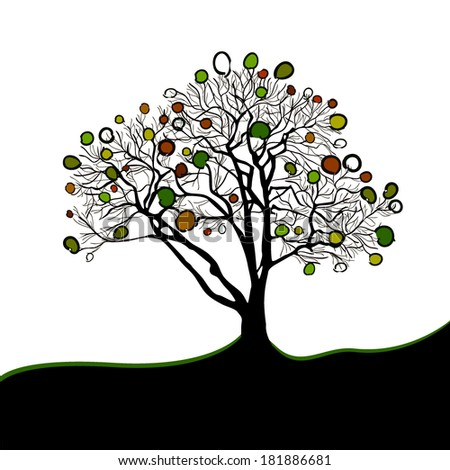 Abstract tree with circles. vector - stock vector