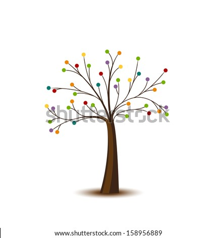 Abstract tree with dots on a white background