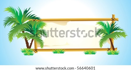 abstract tree with frame in blue background vector illustration - stock vector