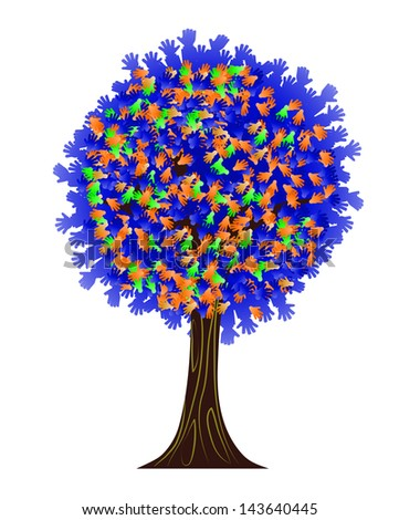 abstract tree with hands instead of leaves - stock vector