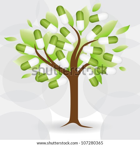 Abstract tree with medical pill. Vector Illustration. - stock vector