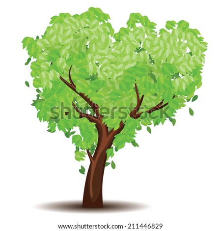 Abstract tree with stylized green leaves illustration.