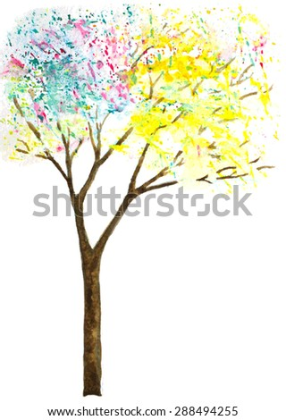 abstract trees with leaves made of splashes. watercolor vector illustration - stock vector