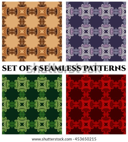 Abstract trendy seamless patterns with fractal decorative elements of green, red, blue and brown shades - stock vector