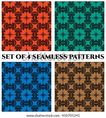 Abstract trendy seamless patterns with fractal decorative elements of red, green, blue and brown shades - stock vector