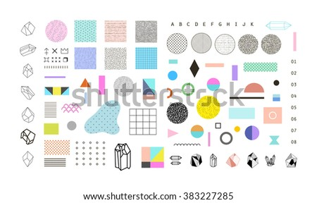 Abstract trendy set with different geometric shapes and textures. Best design for poster, card, invitation, placard, brochure, flyer, presentation. - stock vector