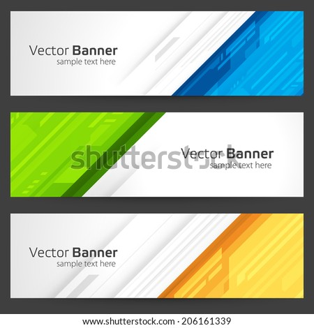 Abstract trendy vector banner or header set - stock vector