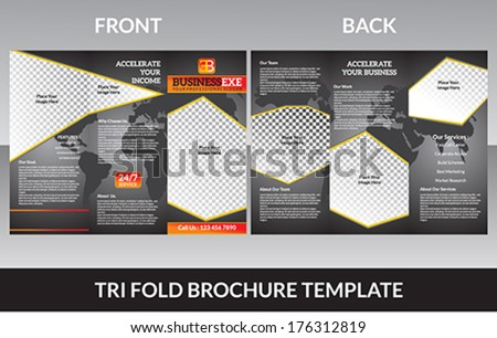 abstract tri fold brochure concept  vector illustrator - stock vector