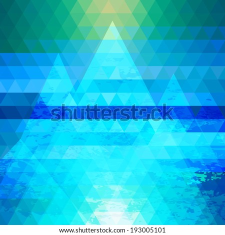 Abstract triangle background with stylized mountains. Vector illustration - stock vector