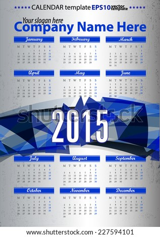 Abstract triangle banner calendar 2015 year. stock vector template