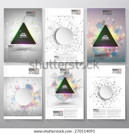 Abstract triangle banner with place for text. Molecule structure background. Brochure, flyer or report for business, templates vector - stock vector