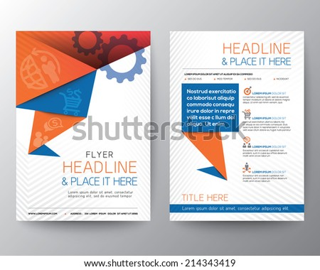 Abstract Triangle Brochure Flyer design Vector Layout in A4 size - stock vector