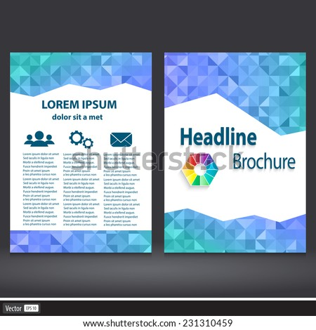 Abstract Triangle Brochure. Flyer design vector template in A4 size. Geometric concept with icon - stock vector