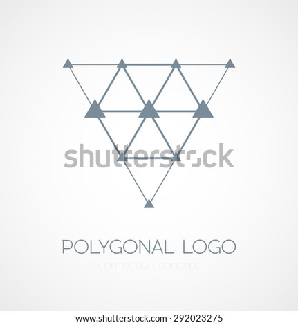 Abstract triangle connection concept icon logo on white background. Vector illustration - stock vector