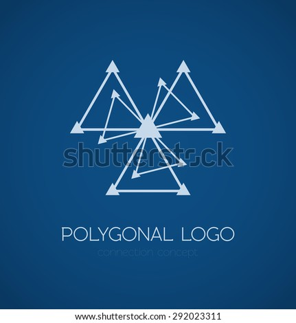 Abstract triangle connection concept logo on blue background. Vector illustration - stock vector