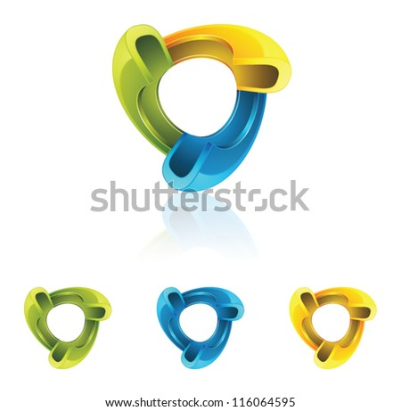 Abstract triangle 3D icon - stock vector